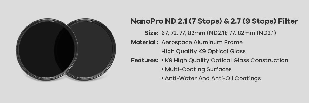 filtry haida okrągłe nd2.1 nd2.7